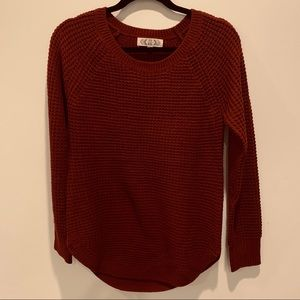 Pink Rose wine red knit sweater